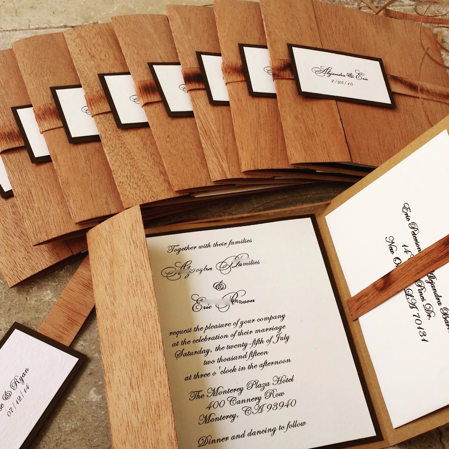 description yes this wooden pocket fold rustic wedding invitation - Wooden Wedding Invitations