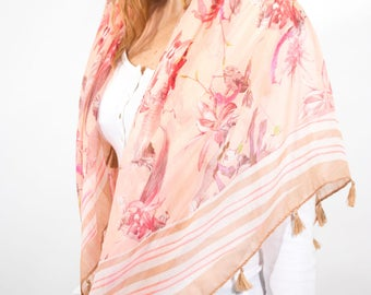 Monogram Scarf Floral Spring Scarf Peach Cream Scarf Square Scarf Women Ladies Wraps Shawls Personalized Gift Gift for Her Scarves UK