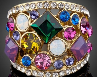 Multicolor Crystal Party Ring