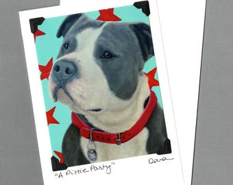 Pit Bull Card - American Staffordshire Terrier - Bull Dog - Bulldog  - Pittie - Proceeds Benefit Animal Charity