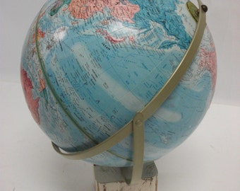 Vintage Replogle World Nation Series Globe on Hand Painted wood block base