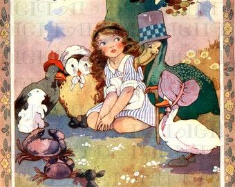 Sweet Animals With ALICE. Alice in Wonderland Digital Download. Vintage ILLUSTRATION. Alice in Wonderland Digital PRINT.