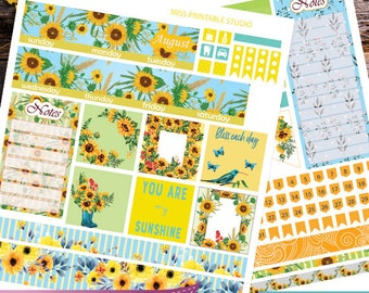 August Big HP Planner Stickers, Big HP August Planner Stickers, Sunflowers Monthly Planner Kit, Printable Stickers, Monthly Planner, August