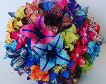 Paper Flowers Origami Bouquet In Rainbow Multi-Colour Wedding Theme Bridal Accessories Tulip Lily Kusudama