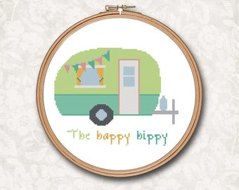 The Happy Hippy Camping Retro Vintage Camper RV Windstream Beach Art Counted Cross Stitch Pattern - PDF Digital Download