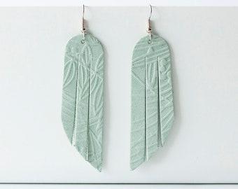 Leather Earrings / Fringe / Minty Leaf