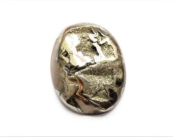 Ammonite with silver pyrite geode cabochon 35х27х3 mm
