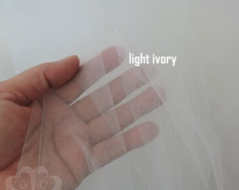 """Light Ivory 108"""" Soft Illusion Nylon Tulle by the Yard"""