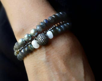 Labradorite, Pearl, Moonstone and Crystal Stack Bracelet  One or Set of all Three