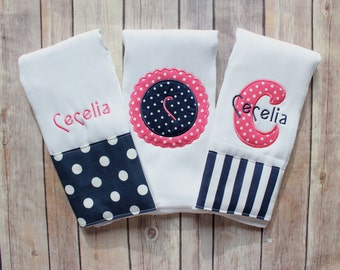 Personalized Monogrammed Baby Girl Burp Cloth Set, Pink Navy Baby Gift Set, Monogrammed Girl Burp, Personalized Baby Shower Gift, New Baby