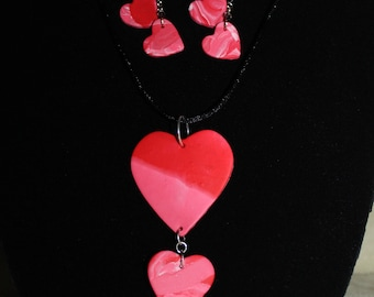 Three Hearts Dangle Necklace and Two Heart Dangle Earring Set