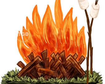 Campfire and Marshmallow Clip Art - watercolor Clip Art, Bonfire clip art, roasting marshmallows, camping clip art, camping clipart