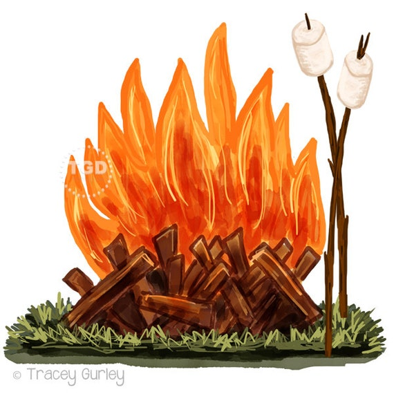 campfire and marshmallow clip art watercolor clip art rh etsy com bonfire clipart bonfire clip art free