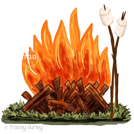 campfire and marshmallow clip art watercolor clip art