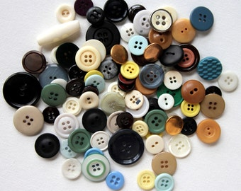 Vintage Mixed Buttons, Variety Lot, Sewing, Craft, Findings, Novelty, Scrap Booking, Gems, Many Sizes, Multi Colored, Three Ounces 1D