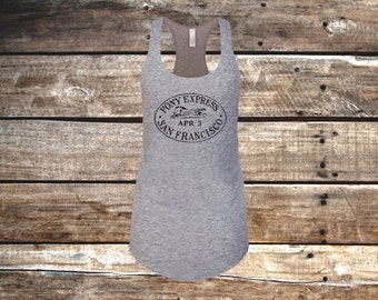 Pony Express Equestrian Fitted Tank, Heather Gray