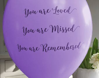 25 Purple 'You are Loved, Missed, Remembered' Funeral Remembrance Balloons. 100% Biodegradable. Celebration of Life, Memorial, Anniversary.