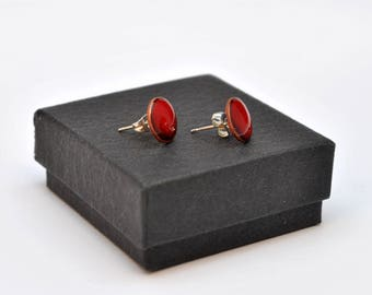 Bright red enamel stud earrings