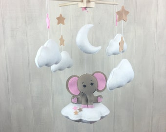 Baby mobile - Elephant mobile- cloud babies - cloud mobile - star mobile - crib mobile - nursery decor - moon mobile