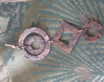 Geometric shapes - One of a kind dangle earrings - Artisan Jewelry