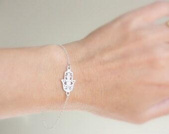 Evil eye bracelet Sterling Silver hamsa Evil eye bracelet  - Hand of Fatima Bracelet, Evil Eye, Delicate Thin Gold Bracelet