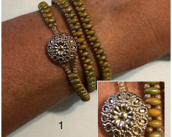 Green and golden beaded wrap bracelet