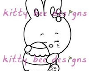 Easter Egg Bunny Digi Stamp