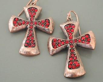 Cross Earrings - Ruby Earrings - Copper Earrings - Red Earrings - Handmade Jewelry