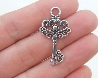 6 Key pendants antique silver tone K44