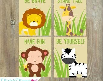 Jungle Nursery Art - Jungle Nursery Decor - Self Print 4 piece Set - Instant Download Jpeg Files