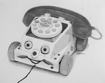 """Retro toy telephone realistic ORIGINAL drawing in graphite pencil on bristol smooth paper 11"""" x 14"""""""