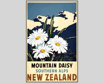 New Zealand 1930 Mountain Daisy Southern Alps Vintage Poster Print Retro Travel Art Free Us Post Low EU & CA Post Buy 3 Get 1 Free