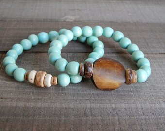 SALE Seafoam wood bead stretch bracelets with bone bead, coconut wood, bracelet set, beach chic, neutral, summer fashion, beach fashion