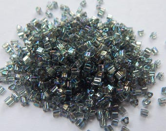 TOHO 11/o Triangle Beads 20 grams Gray Rainbow Seed Beads