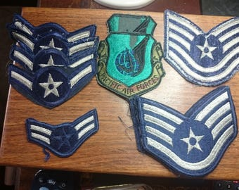 2 Pacific Air Forces - USAF (Green Shield)  and  9 Air Force Airman  Rank cloth badges