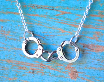 Silver Handcuffs . Necklace