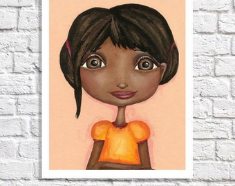 African American Art For Childrens Room Cute Room Decor Little Black Girl Portrait Art Print Illustration For Kids Orange Baby Nursery Ideas