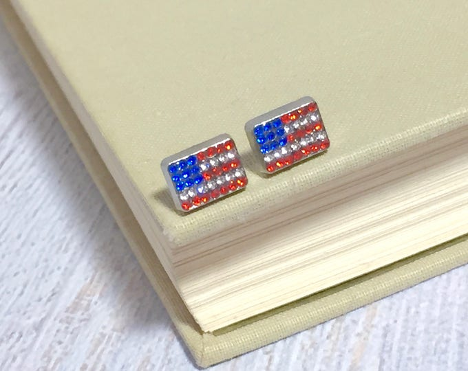 Featured listing image: Tiny Little Patriotic Red White and Blue Rhinestone Studded United States Flag Stud Earrings for 4th ofJuly (SE10)