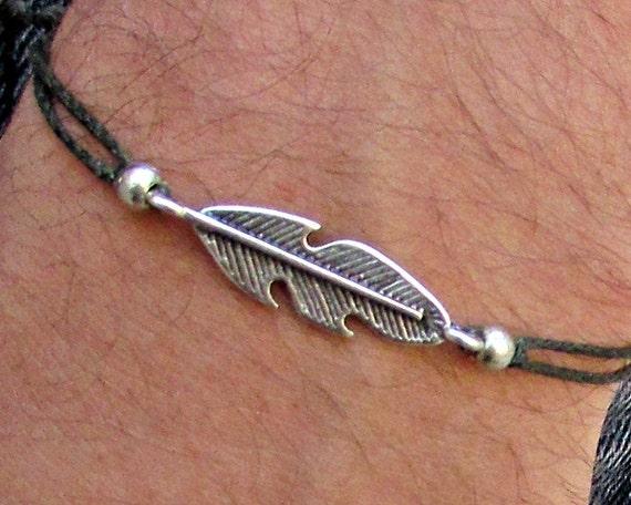 Feather Mens Bracelet Anklet Women Bracelet Anklet Adjustable