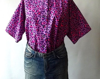 Free size Blouse woman over size Shirt  in Pink animal  Print Cotton handmade