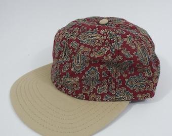 Vintage 90s Red and Orange Paisley Print Hat