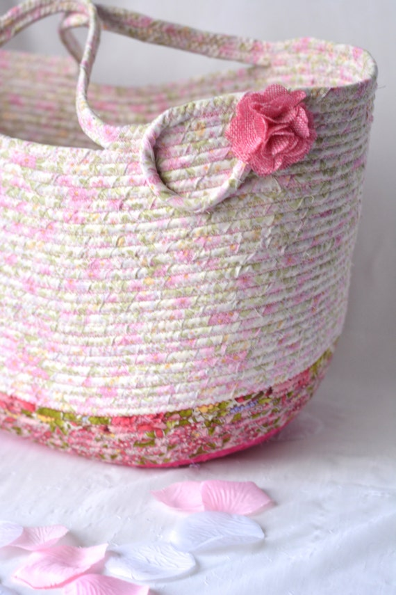 Shabby Chic Tote Bag, Handmade Artisan Quilted Basket, Decorative Pink Floral Knitting Bag, Handled Picnic Gift  Basket, Baby Shower Gift