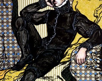 """Large giclee print - handsome reclined man with dark hair and renaissance suit - 18"""" x 24"""" or 11"""" x 14"""""""