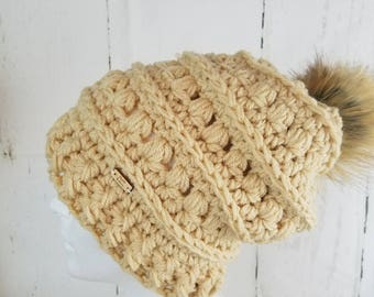 Mabel Toque.Ready to Ship//BEIGE TAN Slouch Hat//Faux Fur Pom Pom//Crochet Hat//Puffy Hat//Ribbed Band