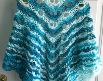 Shades of Turquoise Blue Crocheted Prayer Shawl Angora - Handmade