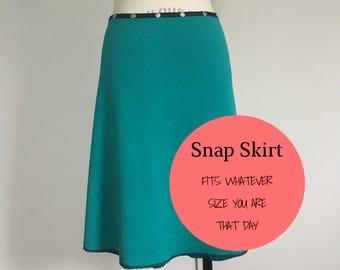 Turquoise skirt, snap skirt, wrap skirt, vintage blue, Erin MacLeod, work skirt, teacher skirt