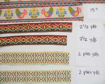 Lot of 1970s Woven Edgings for Sewing, Crafts Embeiishing Clothing