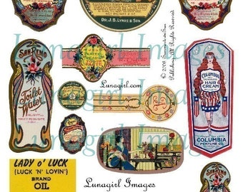 Antique COSMETICS LABELS digital collage sheet, DOWNLOAD vintage images soaps perfumes ephemera printables, Victorian paper altered art tags