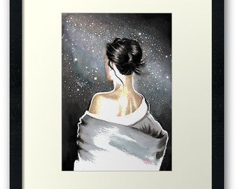 Hand-painted, original watercolor painting of a beautiful girl under starry sky. A dreamy, romantic artwork. By Helga McLeod