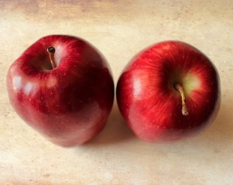 Red apple photography fine art photography print yellow kitchen decor wall art food photography fruit photo rustic decor red brown wall art